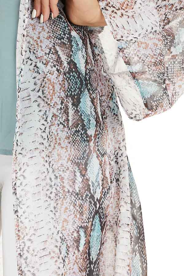 Multicolor Snake Print Open Front Kimono with Pockets detail