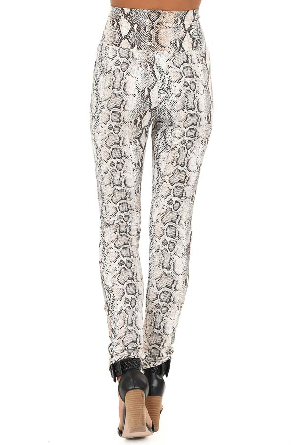 Taupe Snakeskin Print High Waisted Leggings back view