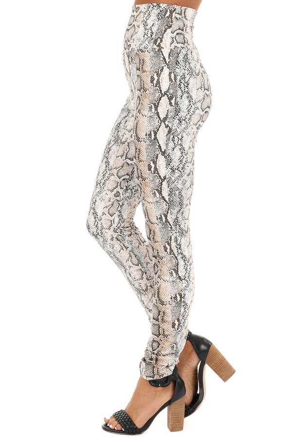 Taupe Snakeskin Print High Waisted Leggings side view