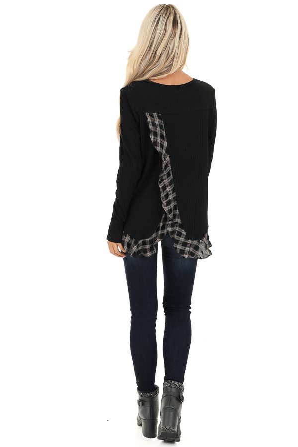 Black Plaid Ruffle Trim Top with Back Layered Detail back full body