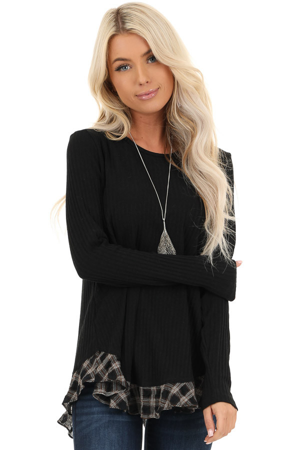 Black Plaid Ruffle Trim Top with Back Layered Detail front close up