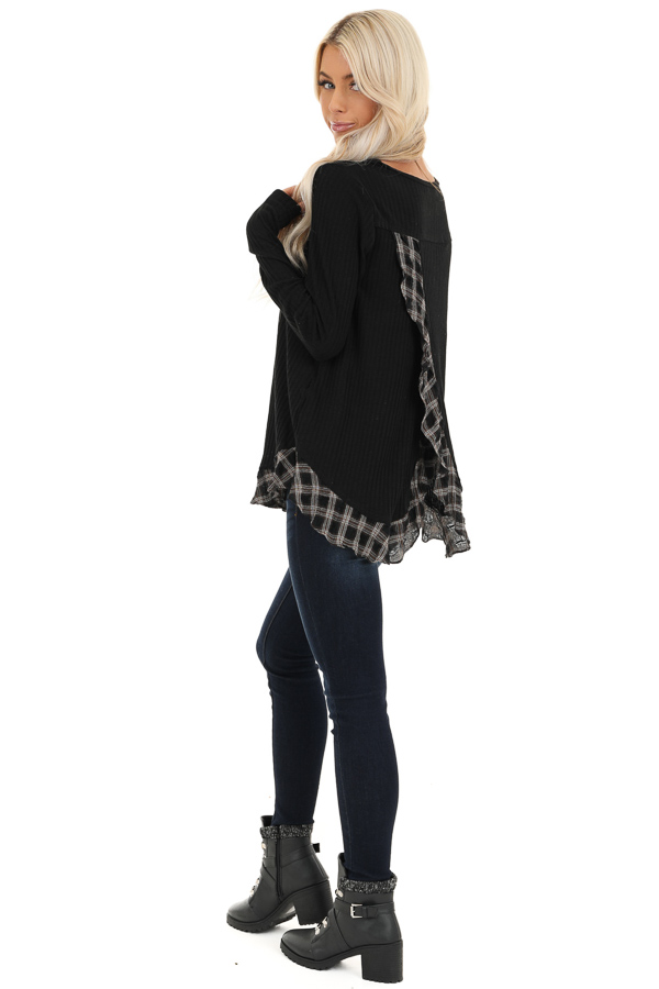 Black Plaid Ruffle Trim Top with Back Layered Detail side full body