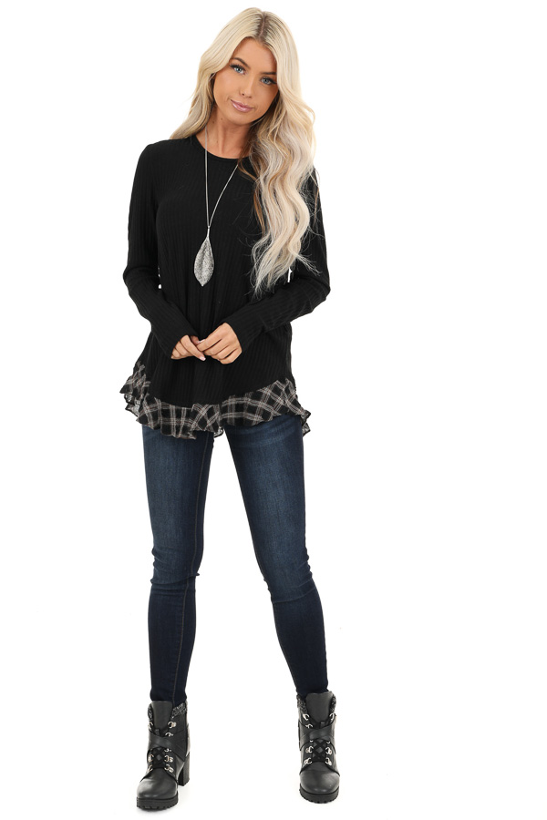 Black Plaid Ruffle Trim Top with Back Layered Detail front full body