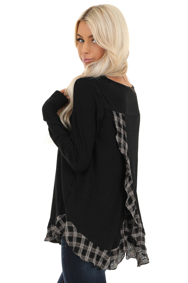 Black Plaid Ruffle Trim Top with Back Layered Detail back close up