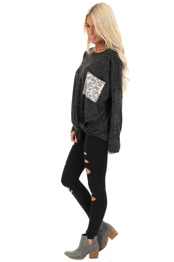 Charcoal Soft Knit Long Sleeve Top with Leopard Print Pocket side full body