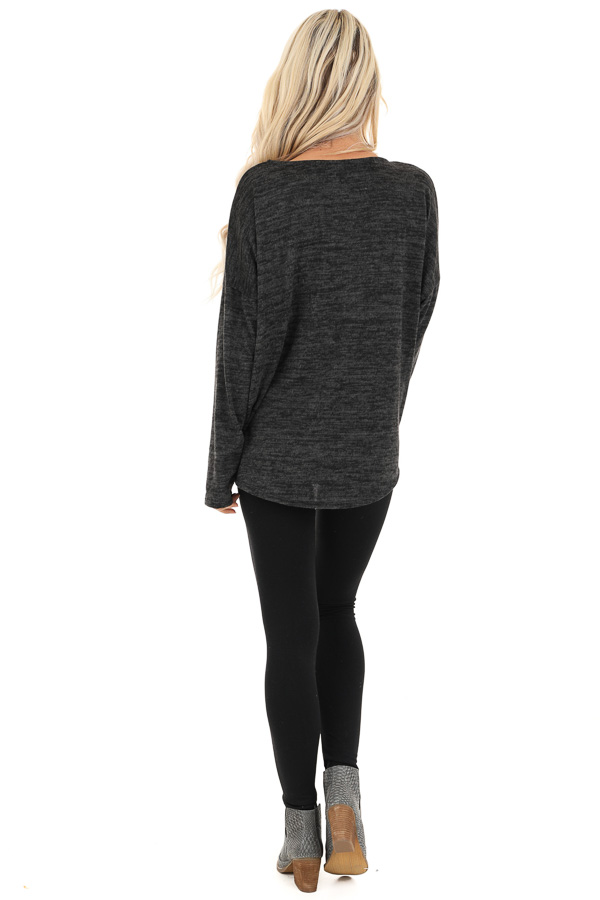 Charcoal Soft Knit Long Sleeve Top with Leopard Print Pocket back full body
