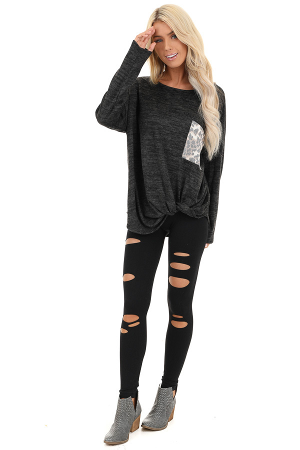 Charcoal Soft Knit Long Sleeve Top with Leopard Print Pocket front full body