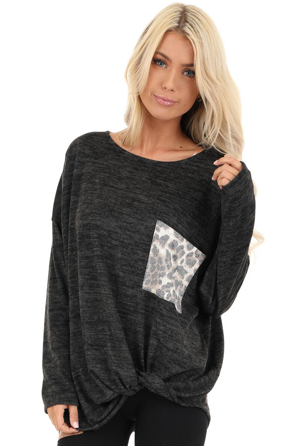 Charcoal Soft Knit Long Sleeve Top with Leopard Print Pocket front close up