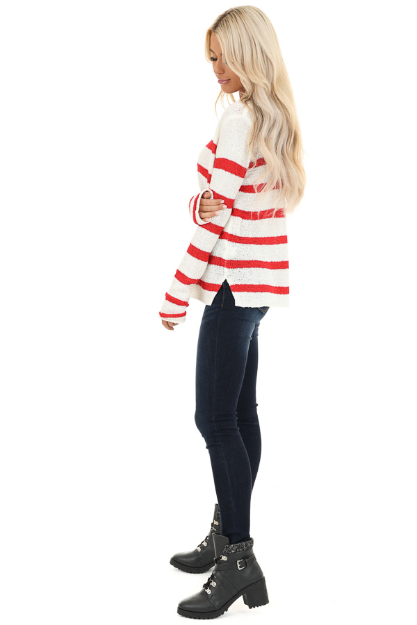 Ivory and Red Striped Long Sleeve Knit Top side full body