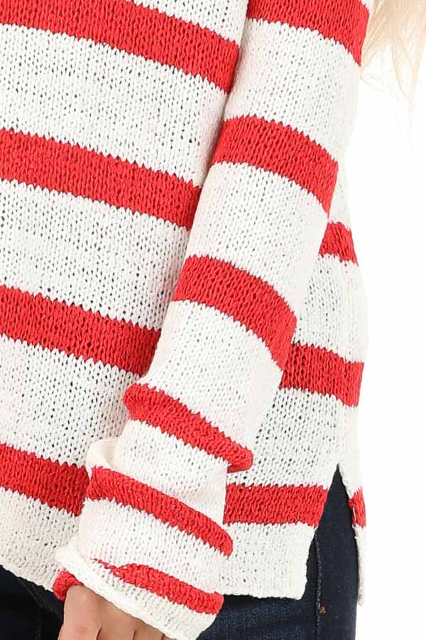 Ivory and Red Striped Long Sleeve Knit Top detail