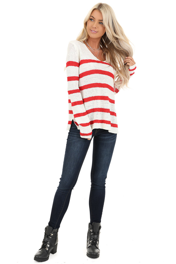 Ivory and Red Striped Long Sleeve Knit Top front full body