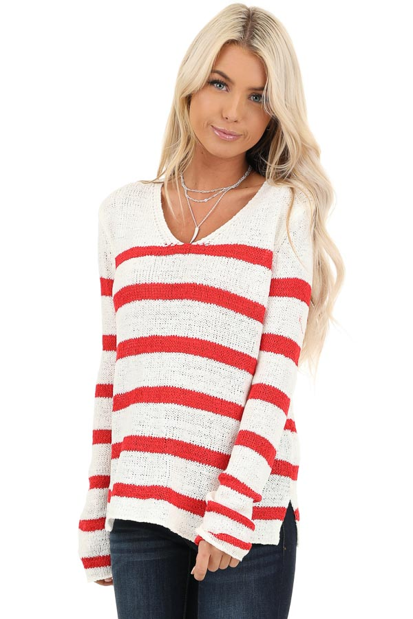 Ivory and Red Striped Long Sleeve Knit Top front close up