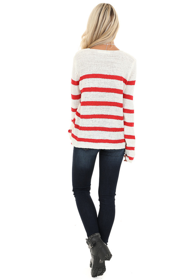 Ivory and Red Striped Long Sleeve Knit Top back full body