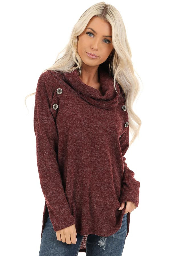 Burgundy Cowl Neck Sweater Top with Long Sleeves front close up