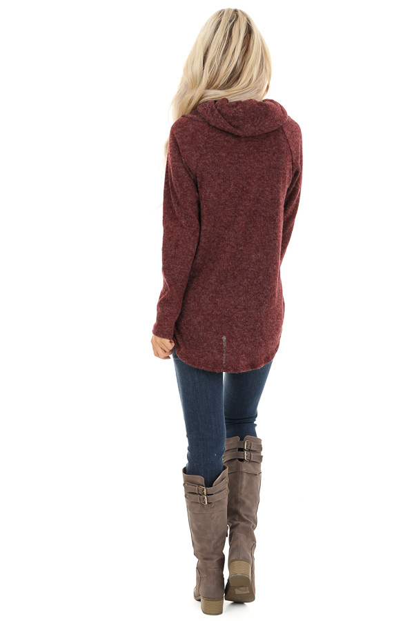 Burgundy Cowl Neck Sweater Top with Long Sleeves back full body
