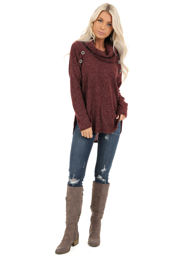 Burgundy Cowl Neck Sweater Top with Long Sleeves front full body