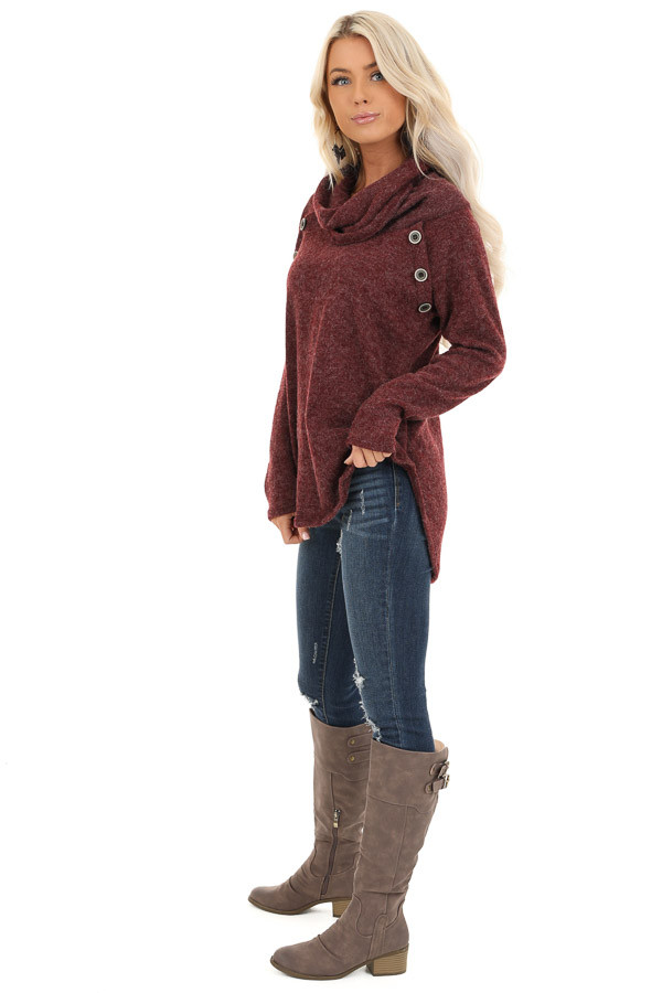 Burgundy Cowl Neck Sweater Top with Long Sleeves side full body