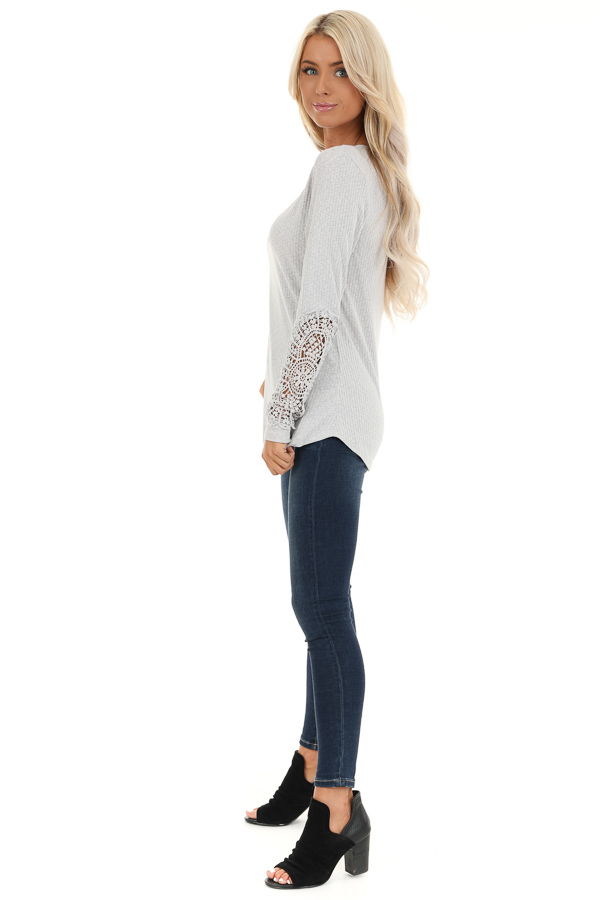 Cloud Grey Ribbed Long Sleeve Top with Crocheted Detail side full body