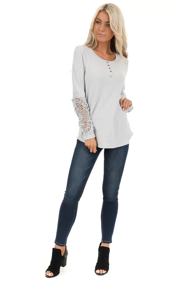 Cloud Grey Ribbed Long Sleeve Top with Crocheted Detail front full body