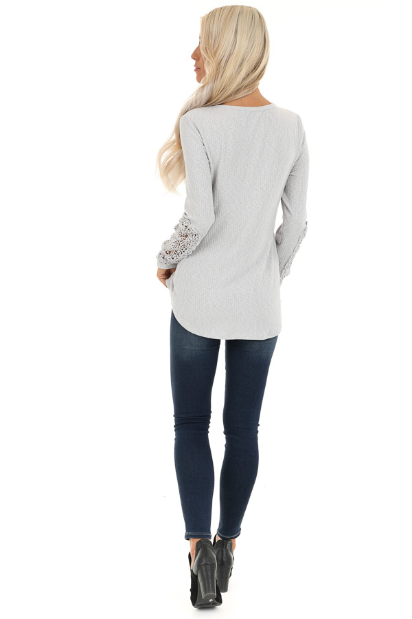 Cloud Grey Ribbed Long Sleeve Top with Crocheted Detail back full body