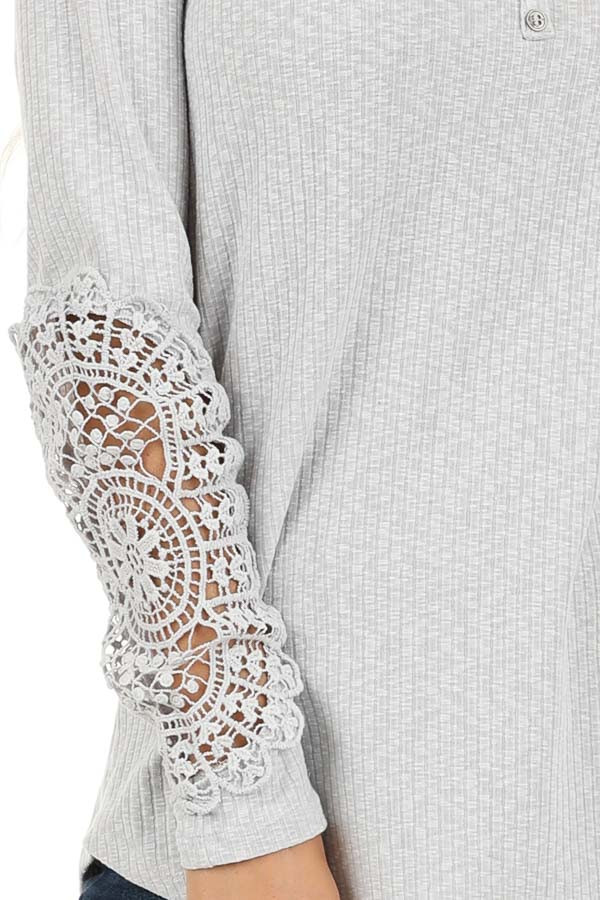 Cloud Grey Ribbed Long Sleeve Top with Crocheted Detail detail