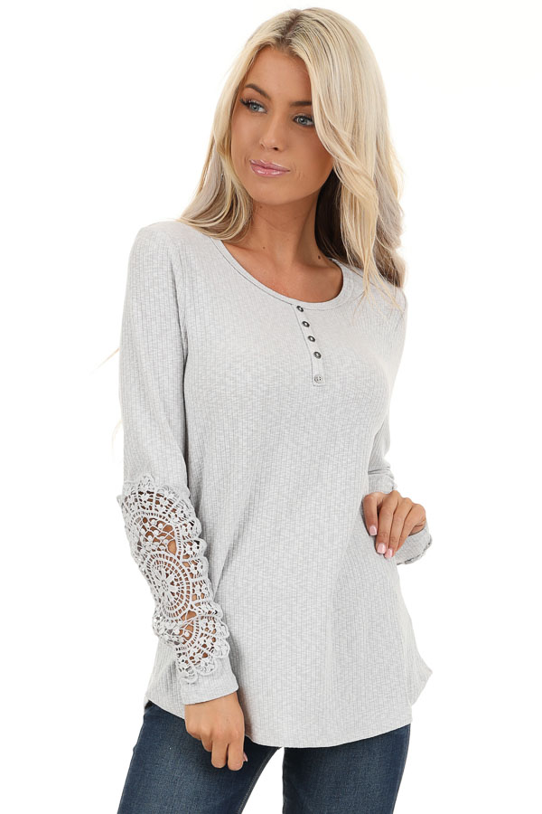 Cloud Grey Ribbed Long Sleeve Top with Crocheted Detail front close up