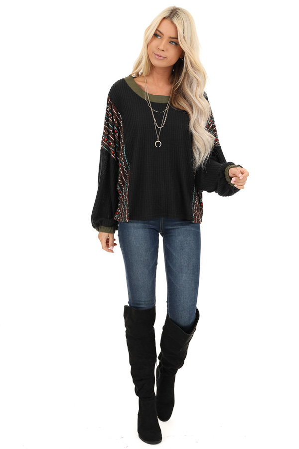 Midnight and Olive Waffle Knit Top with Aztec Print Contrast front full body