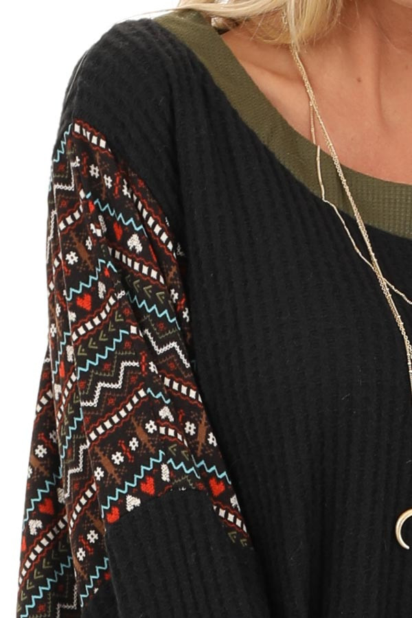 Midnight and Olive Waffle Knit Top with Aztec Print Contrast detail