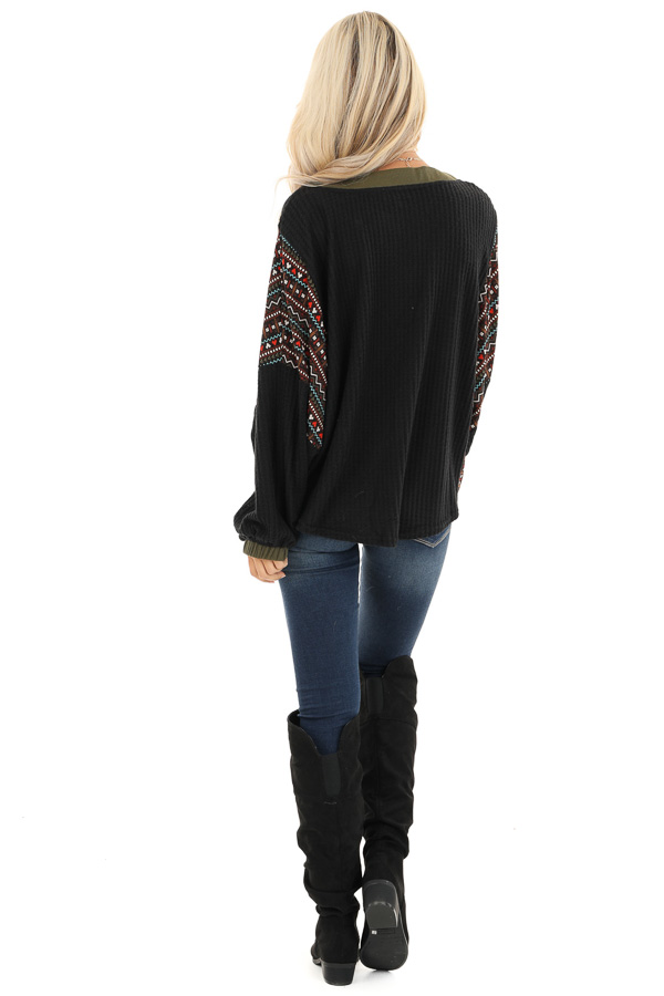 Midnight and Olive Waffle Knit Top with Aztec Print Contrast back full body