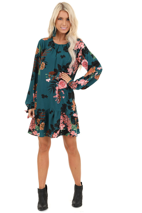 Dark Teal Floral Print Long Sleeve Dress with Ruffle Hemline front full body