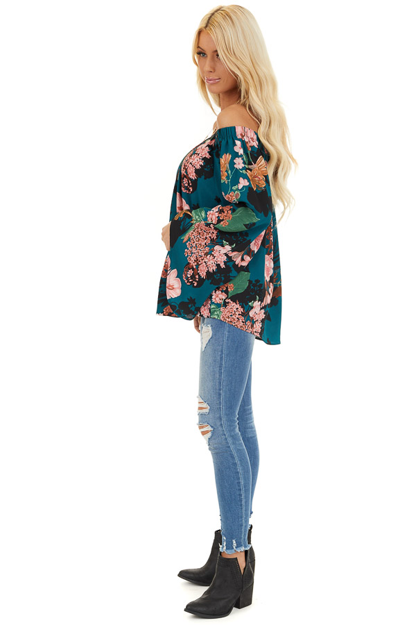 Dark Teal Floral Print Off Shoulder Top with Long Sleeves side full body
