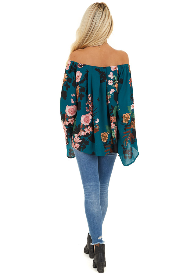 Dark Teal Floral Print Off Shoulder Top with Long Sleeves back full body