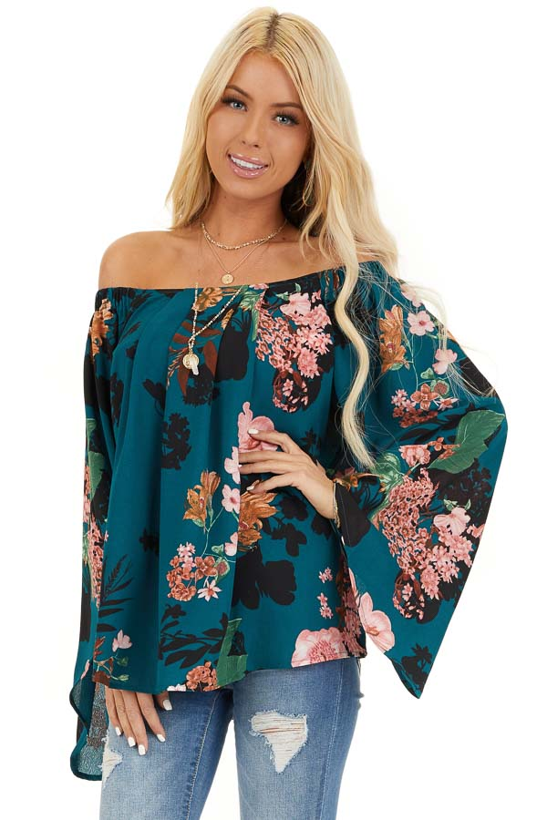 Dark Teal Floral Print Off Shoulder Top with Long Sleeves front close up