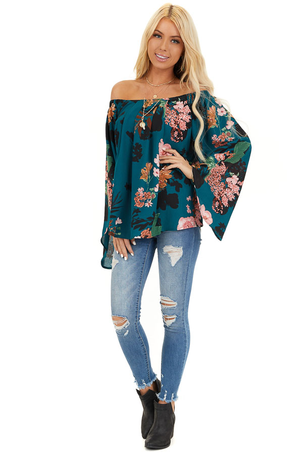 Dark Teal Floral Print Off Shoulder Top with Long Sleeves front full body