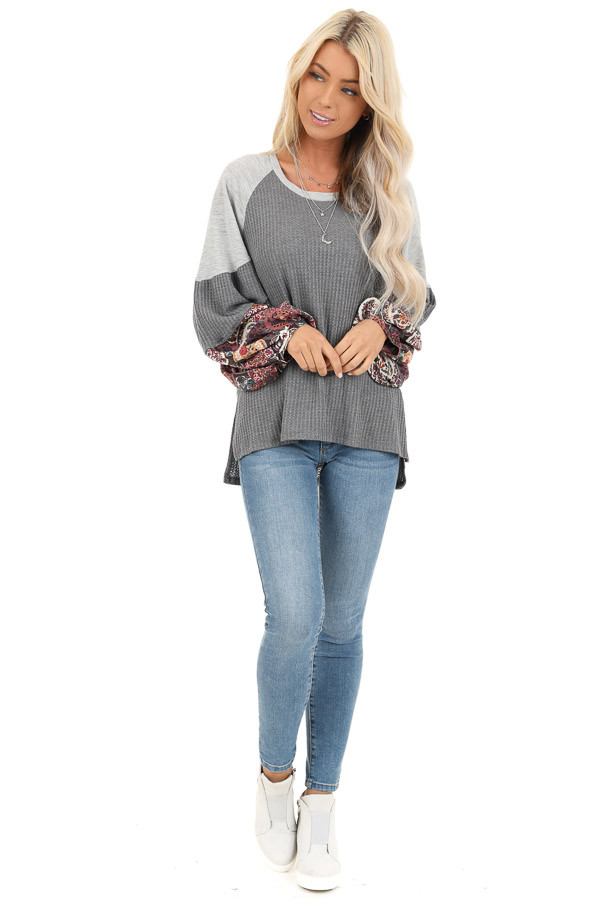 Stone Waffle Knit Top with Color Block Contrast Sleeves front full body