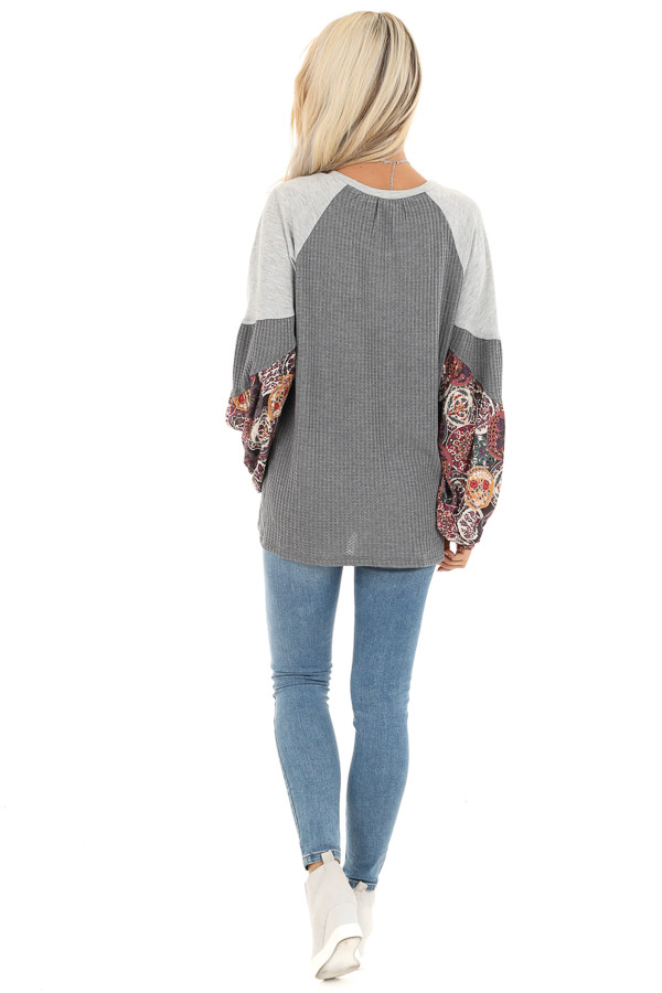 Stone Waffle Knit Top with Color Block Contrast Sleeves back full body