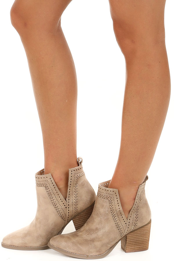 Cream High Heel Bootie with Perforated Details side view