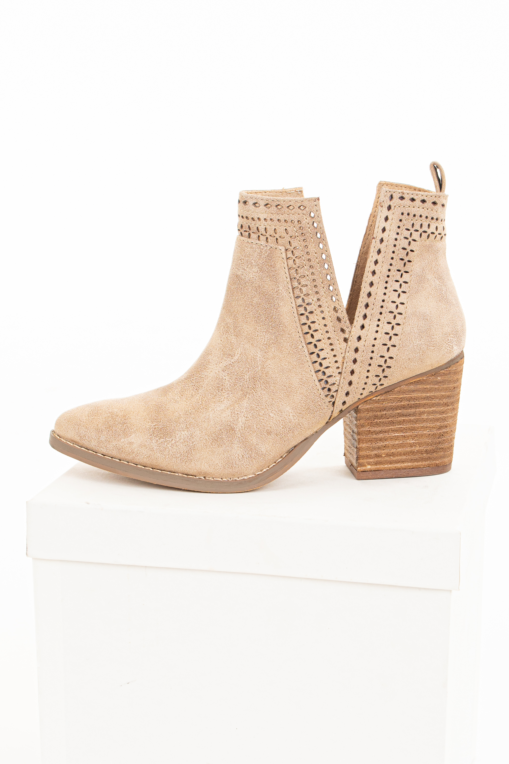 Cream High Heel Bootie with Perforated Details