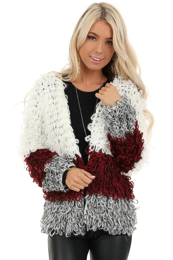 Cream Burgundy and Black Color Block Shaggy Knit Cardigan front close up