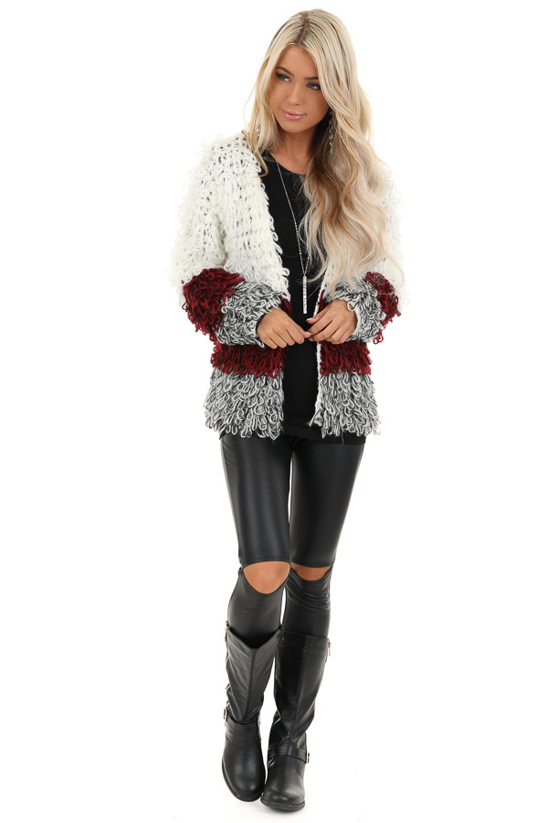 Cream Burgundy and Black Color Block Shaggy Knit Cardigan front full body