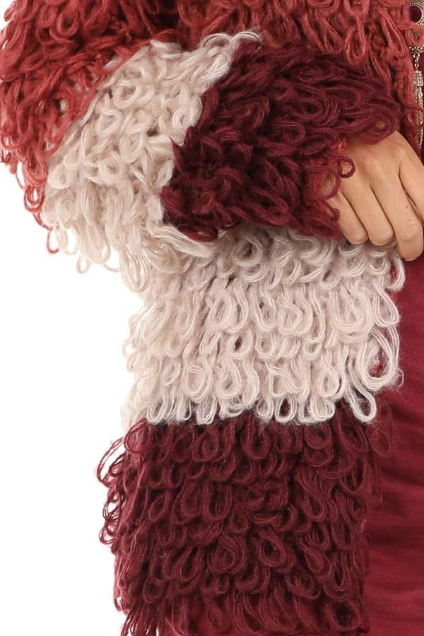 Ruby Red Oatmeal and Maroon Color Block Shaggy Knit Cardigan detail