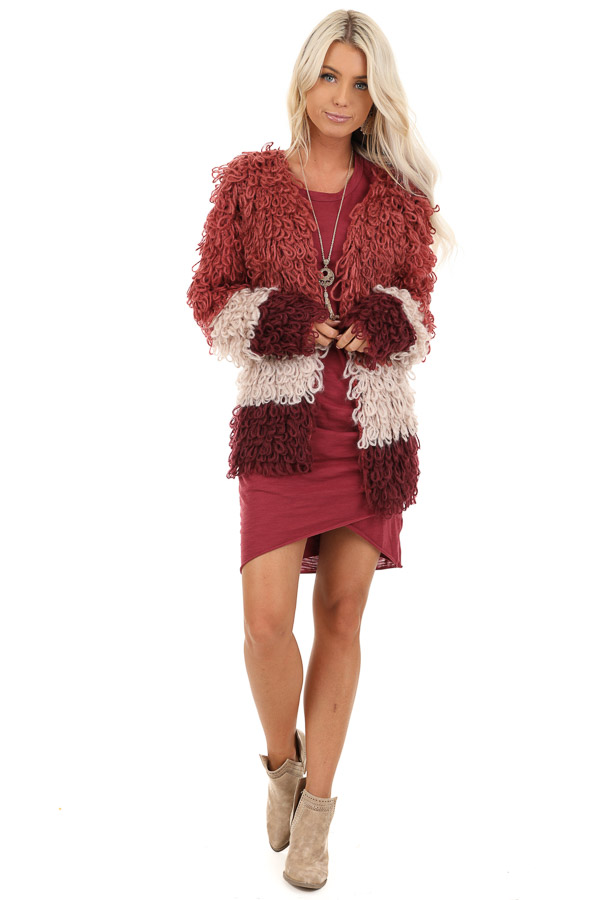 Ruby Red Oatmeal and Maroon Color Block Shaggy Knit Cardigan front full body