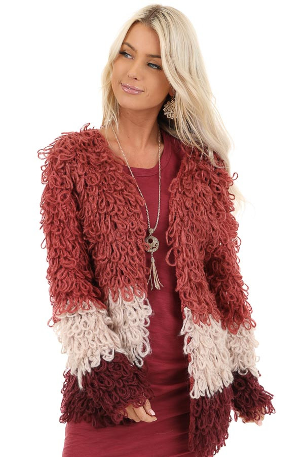 Ruby Red Oatmeal and Maroon Color Block Shaggy Knit Cardigan front close up