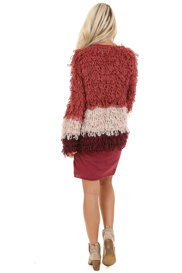 Ruby Red Oatmeal and Maroon Color Block Shaggy Knit Cardigan back full body