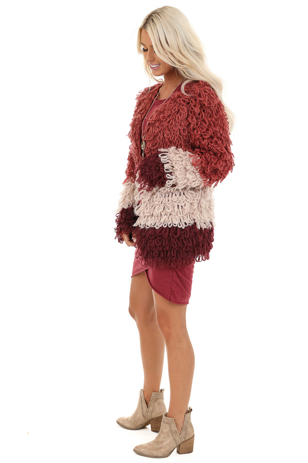 Ruby Red Oatmeal and Maroon Color Block Shaggy Knit Cardigan side full body