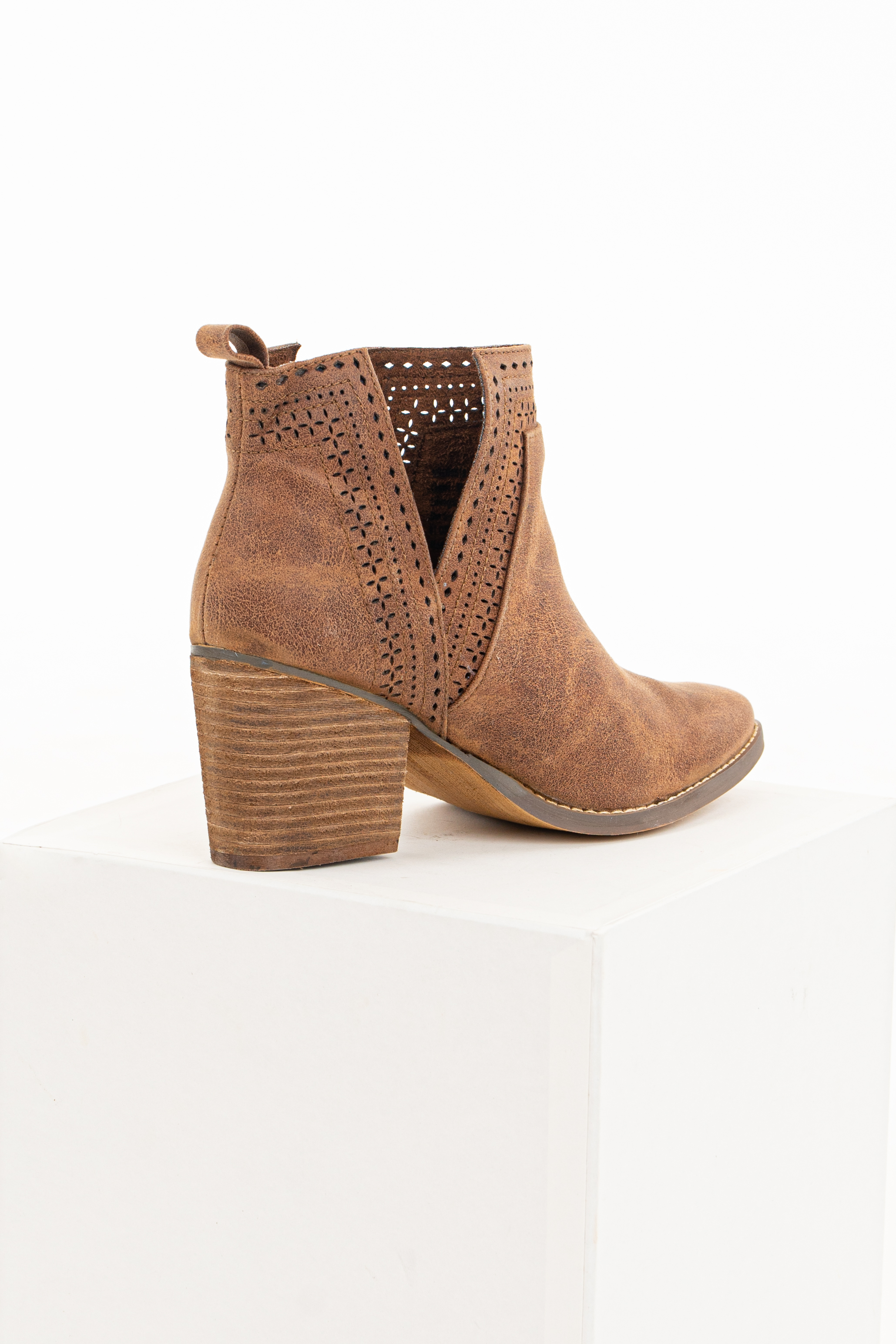 Cocoa High Heel Bootie with Perforated Details