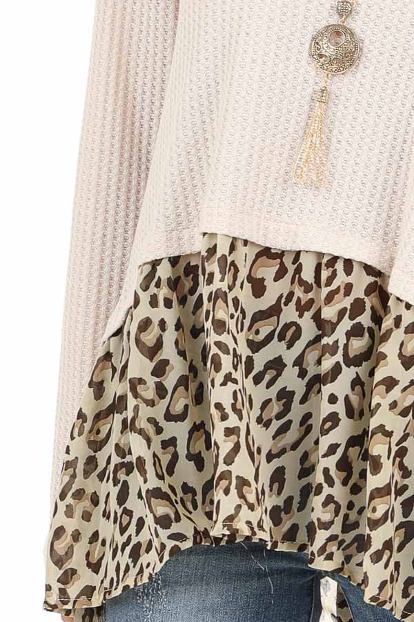 Oatmeal Waffle Knit Top with Sheer Leopard Print Contrast detail