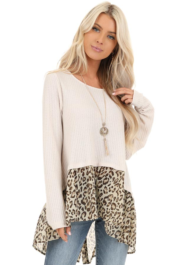 Oatmeal Waffle Knit Top with Sheer Leopard Print Contrast front close up