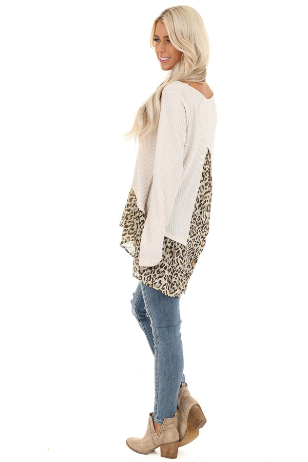 Oatmeal Waffle Knit Top with Sheer Leopard Print Contrast side full body