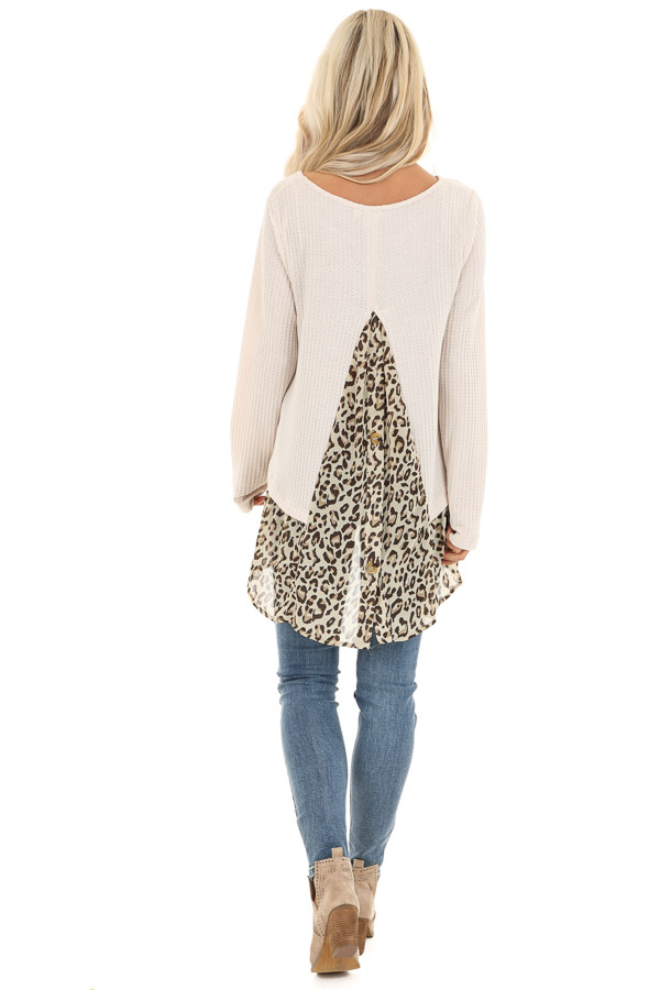 Oatmeal Waffle Knit Top with Sheer Leopard Print Contrast back full body